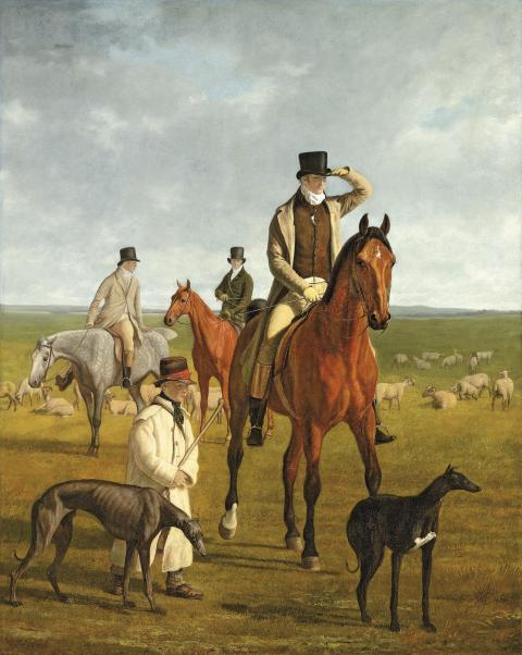Jacques-Laurent Agasse, Lord Rivers out coursing on Newmarket Heath, s.d. (1818-1835)