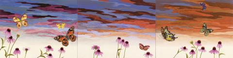 Greg Parma Smith, Groundless Panorama with Butterflies and Echinacea, 2016