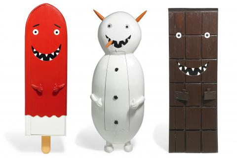 "Olaf Breuning, ""Mr Melting Men (Icecream, Snowman & Chocolate)"", 2004"