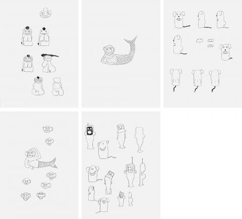Olaf Breuning, Venus - Production Drawing, The Humans Monkey Fish - Production Drawing, The Humans Mouse - Production Drawing, The Humans Mickey Fish - Production Drawing, The Humans Production Drawing, The Humans, 2007