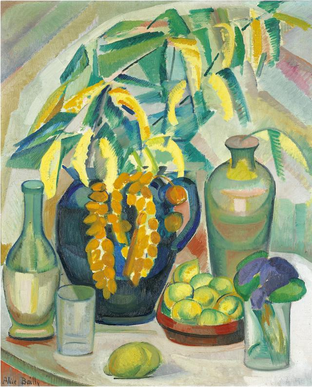 Alice Bailly, Nature morte aux mimosas, 1911