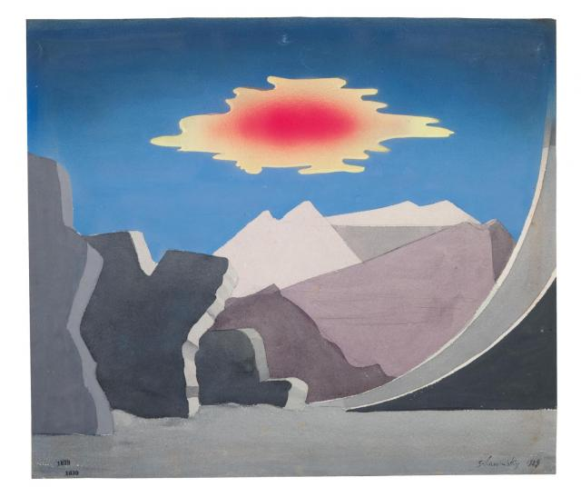 "Xanti Schawinsky, Stage Design for Goethe's ""Faust II"", 4th Scene: High Mountains, Rigged Raked Rock Summit, a Cloud Floats Pass, 1928/29"